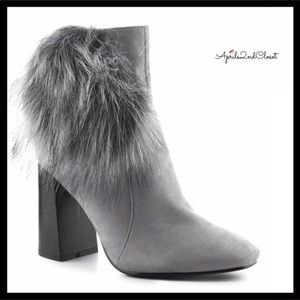 GENUINE SUEDE ANKLE HEELED FAUX FUR BOOTS